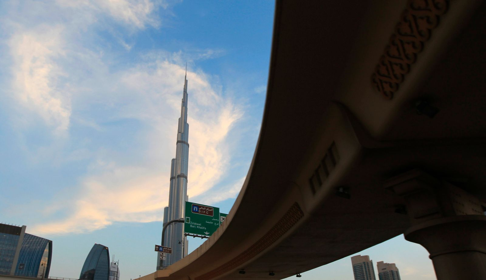 The Burj Khalifa is seen from an interchange on Sheikh Zayed road in Dubai