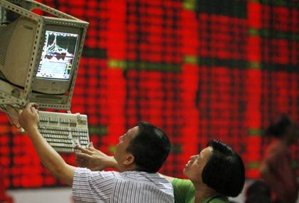 Tiefrot: Börse in China