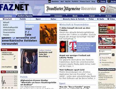Screenshot FAZ-Hompage: Bei den Online-Angeboten wird gespart