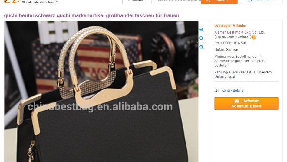 """""""Guchi beutel schwarz"""": Die chinesische Handelsplattform Alibaba sieht sich dem Vorwurf ausgesetzt, sie gehe nicht entschieden genug gegen Raubkopien im Internet vor, sondern fördere diese Kopisten sogar noch beim Auffinden ihrer Plagiate im Internet"""