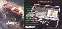 """Jeep-Werbung, Hi-Fi-Gerät: Die """"Jeep TV Boom Box"""" ist ähnlich gestylt wie das legendäre Geländeauto"""
