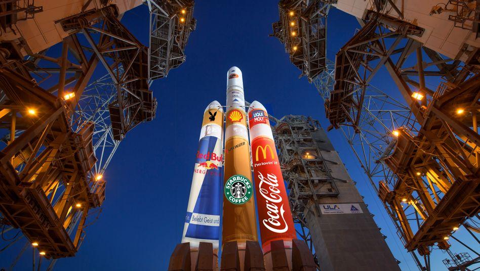 Soll sie vielleicht so aussehen? Rakete der United Launch Alliance mit fktiven Sponsoren-Logos