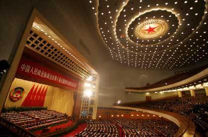 Große Halle des Volkes: Die mehr als 2000 Delegierten dürften den Haushalt billigen
