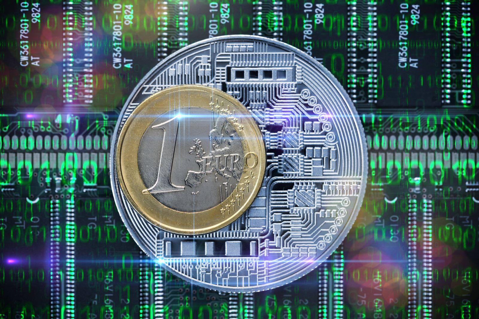 FOTOMONTAGE, Ein-Euro-Münze und Binärcode, digitaler Euro *** PHOTOMONTAGE, One Euro coin and binary code, digital Euro