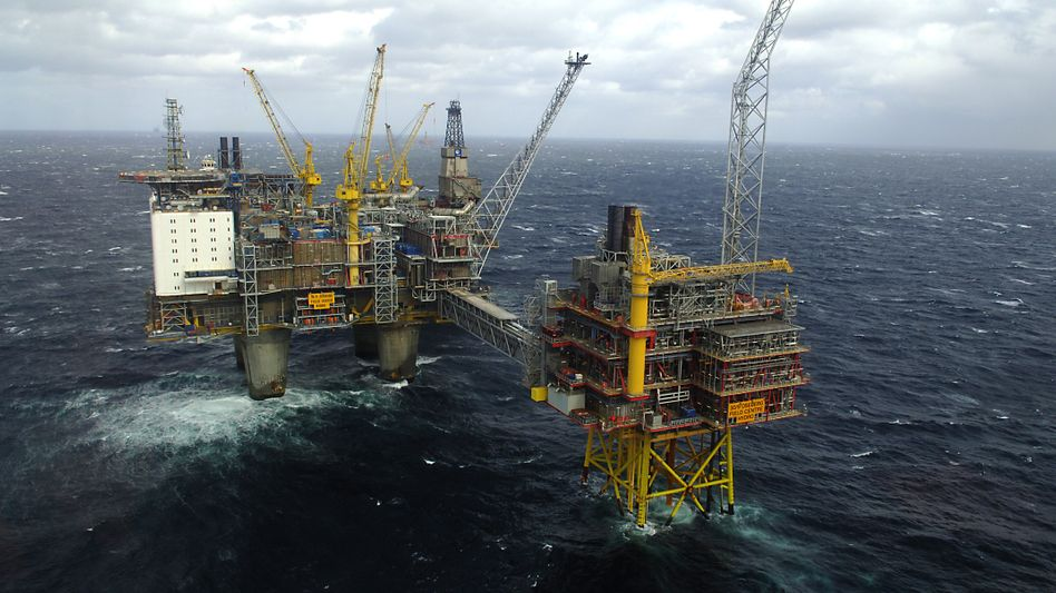Gasplattform in der Nordsee: Norwegen lebt von Öl und Gas, hadert aber mit dem Folgen des Klimawandels