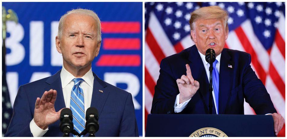 Kontrahenten mit unterschiedlicher Strategie: Während Joe Biden hofft, per Stimmauszählung ins Weiße Haus zu gelangen, versucht sich Donald Trump dort mithilfe von Juristen zu halten