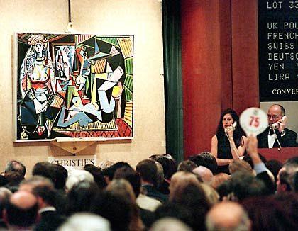 """Pablo Picassos Gemälde """"Les femmes d'Alger"""" aus dem Jahr 1955 wird 1997 im Auktionshaus Christie's in New York für 31,9 Millionen Dollar (rund 56 Millionen Mark) an einen unbekannten Bieter versteigert"""