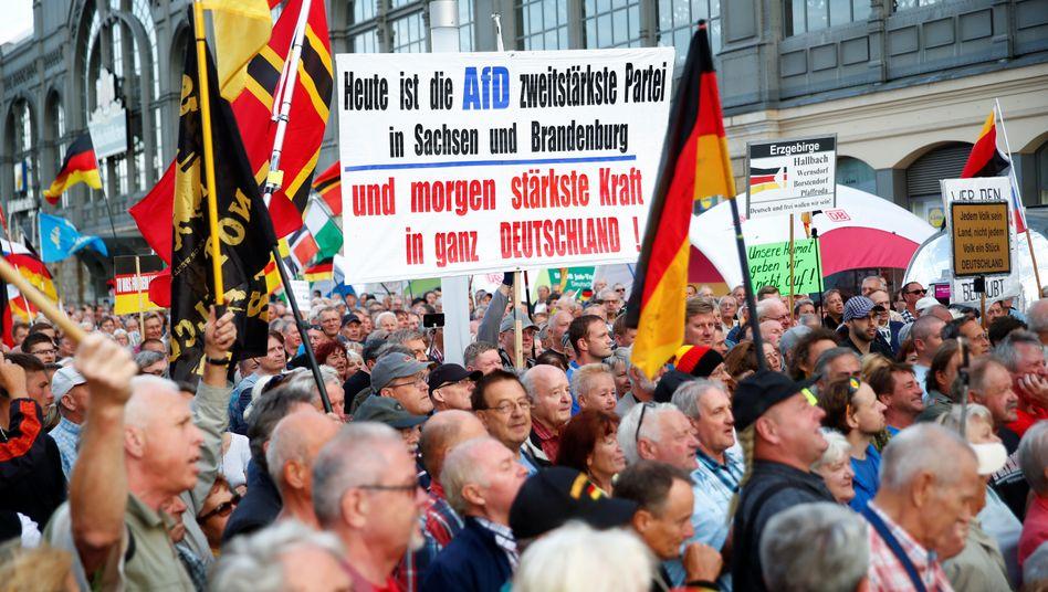 Da kommt vieles zusammen. Demonstration in Dresden Anfang September 2019.