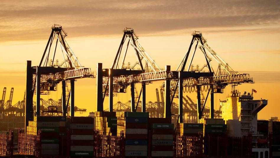 Containerschiff im Hamburger Hafen: Ökonomen dämpfen die Erwartung an eine rasche wirtschaftliche Erholung