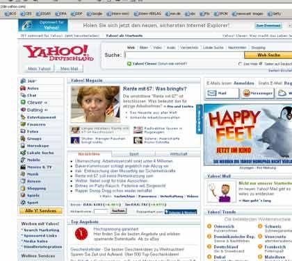 Abgerutscht: Yahoo hat nur noch einen Marktanteil von 28 Prozent in Deutschland