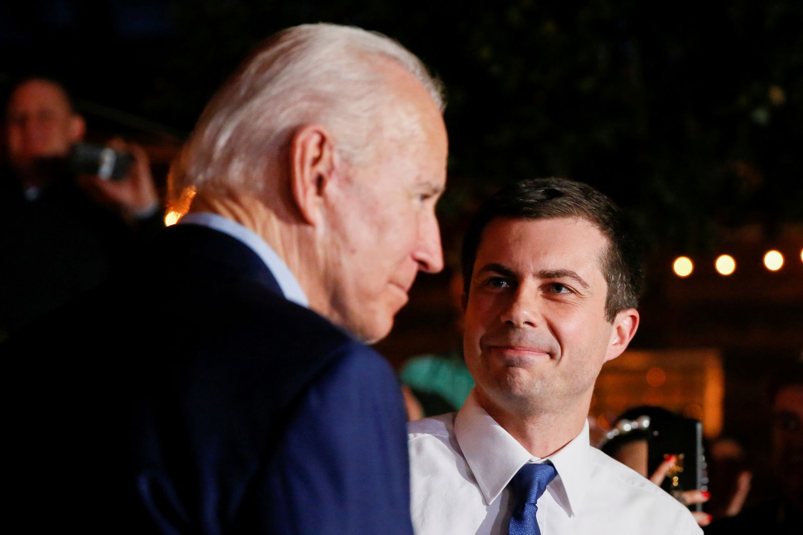 FILE PHOTO: Former Democratic presidential candidate Pete Buttigieg endorses former U.S. Vice President Joe Biden at Chicken Scratch in Dallas