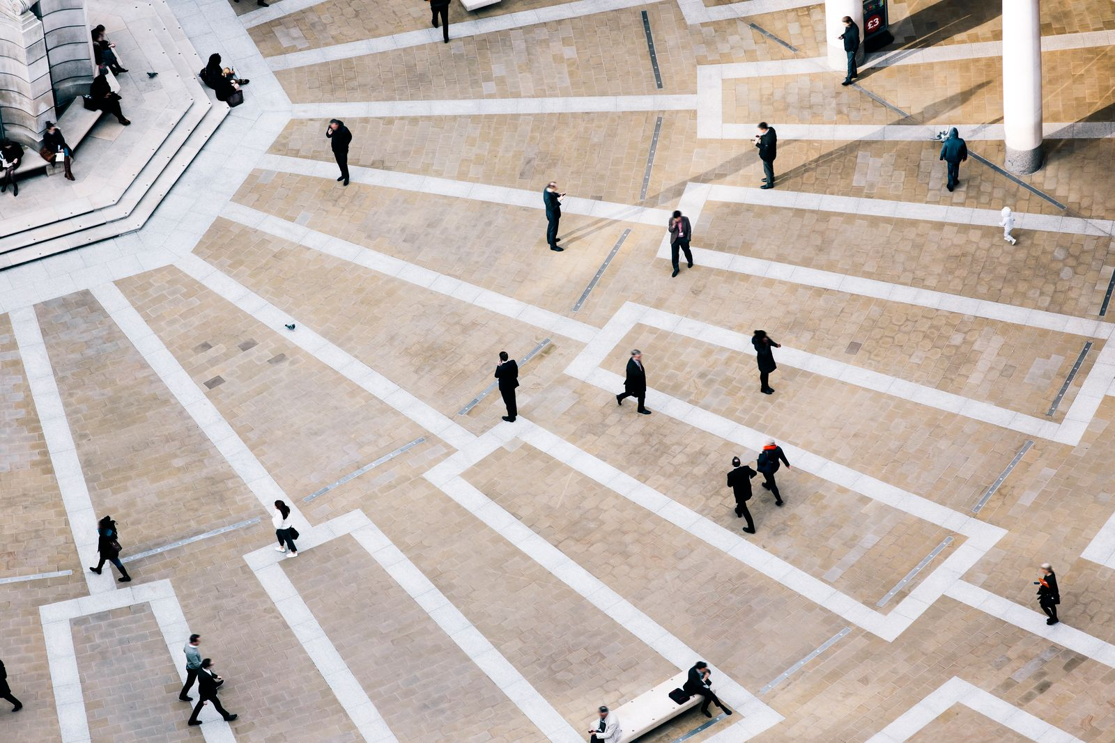 High angle view of pedestrians at Paternoster Square, London, UK