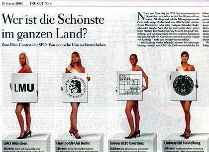 """""""Zeit"""": Grazien präsentieren die Uni-Logos"""