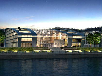 Das Glashaus am Rhein:Das Kameha Grand Bonn, hier eine Simulation, ist Teil des neuen Bonner Bogens. Am gegenüberliegenden Ufer liegt ein Naturschutzgebiet, die Rheinauen.
