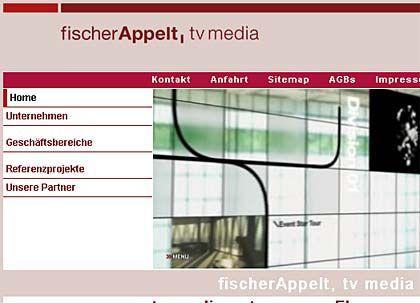 Fischer Appelt TV Media: Internetauftritt der neu entstandenen TV-Produktionsfirma