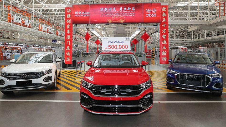 Abhängig: Volkswagen- und Audi-Modelle im Werk Tianjin des Joint-Ventures FAW-Volkswagen