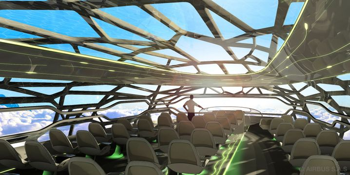 Piloten im Gepäckraum: Im Konzeptflugzeug von Airbus haben die Passagiere freie Sicht nach vorn