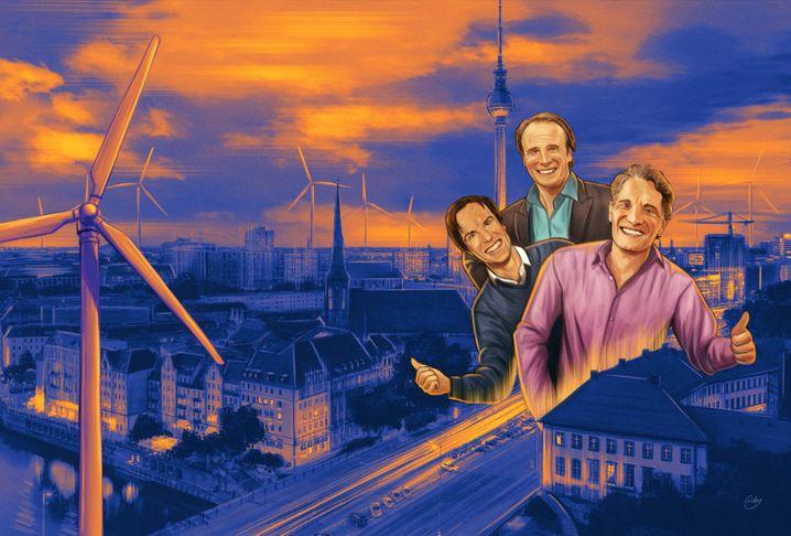 Raketenmänner: Alexander, Marc und Oliver Samwer machen jetzt in Beton und Wind statt Bytes und Web.