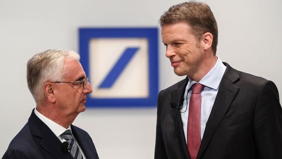 Deutsche Bank Chefaufseher Achleitner, CEO Sewing (rechts): ISS empfiehlt Nicht-Entlastung der Führung