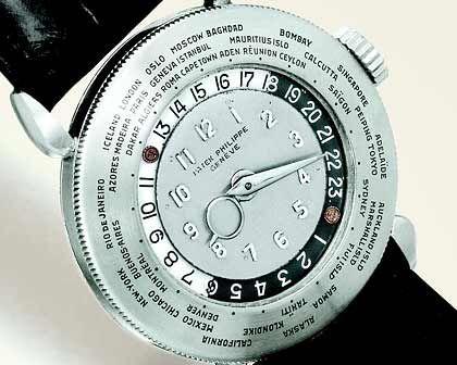 """4,5 Millionen Euro bezahlte ein Sammler für diese Schweizer Uhr. Die Patek Philippe 1415 """"Platinum World Time"""" wurde 2002 bei einer Auktion versteigert und ist damit die bislang teuerste Armbanduhr aller Zeiten."""
