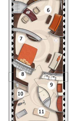 6 - Private Office 7 - Schlafzimmer für den Flugzeugherren 8 - Ankleideraum 9 - Großes Badezimmer inklusive Wanne 10 - Sauna für drei Personen 11 - Fitnesscenter mit Laufband, Hometrainer, Massageliege