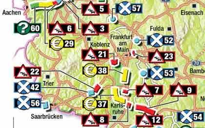 Weiter Stau an der A63 (22): Der Neubau zwischen den Anschlussstellen Sembach und Kaiserslautern Ost wäre nötig - kann aber möglicherweise nicht bezahlt werden. Eigentlich sollte auch das Autobahnkreuz Walldorf an der A6 ausgebaut werden (8), die Verkehrsführung auf Höhe der Anschlussstelle Wiesloch/Rauenberg entschärft - doch ohne Mautmilliarden könnte das Projekt nun verschoben werden