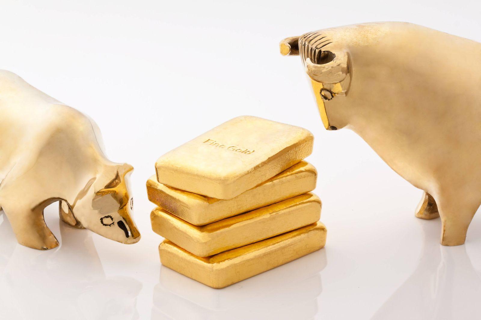 Goldpreis steigt auf Fünfjahreshoch Fotomontagen Bulle und Bär Börsen Symbole mit Goldbarren BLWX