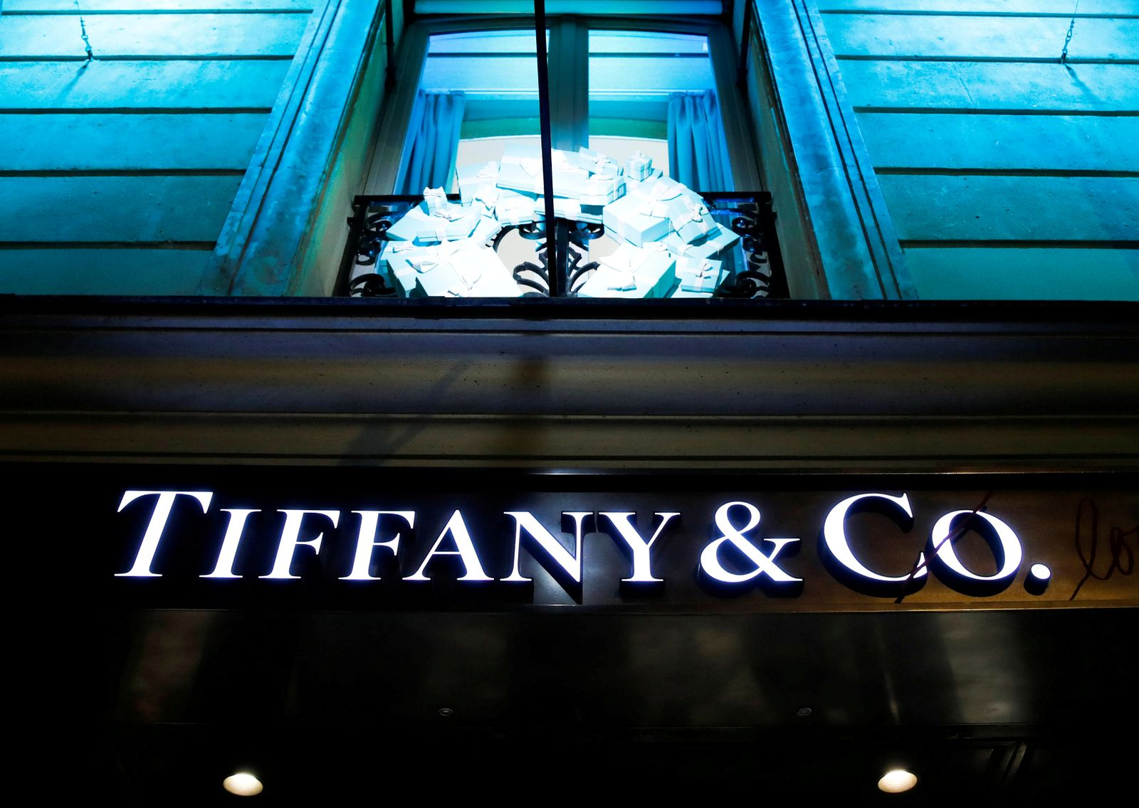 FILE PHOTO: A Tiffany & Co. logo is seen outside a store in Paris