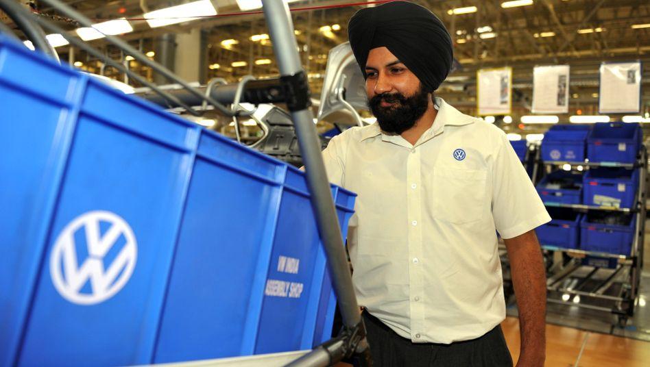 Volkswagen-Fertigung in Pune, Indien: Künftig will der Konzern mit dem indischen Hersteller Tata Motors kooperieren