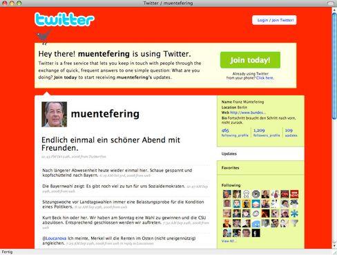 Kaum Berührungsängste: Politiker wie SPD-Chef Franz Müntefering nutzen Twitter mutiger als viele deutsche Konzerne