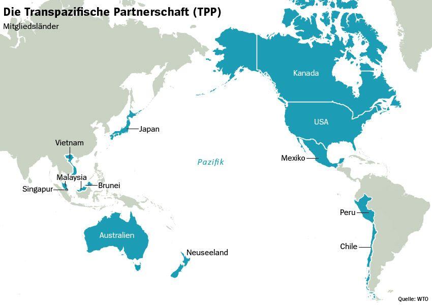 Karte - Transpazifische Partnerschaft Mitgliedsländer TPP (Stand 2016)