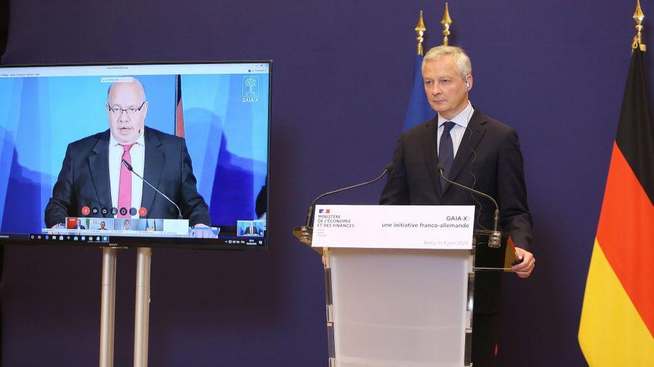 Für die digitale Unabhängigkeit: Der französische Wirtschaftsminister Bruno Le Maire (r.) mit seinem deutschen Pendant Peter Altmaier bei einer Präsentation zu GAIA-X, einem gemeinsamen europäischen Dateninfrastrukturprojekt