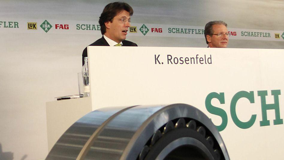 Auf und Ab: Schaeffler-Vorstände Klaus Rosenfeld (Finanzen, l.) und Jürgen Geißinger (Vorsitz) spüren die schwache Konjunktur