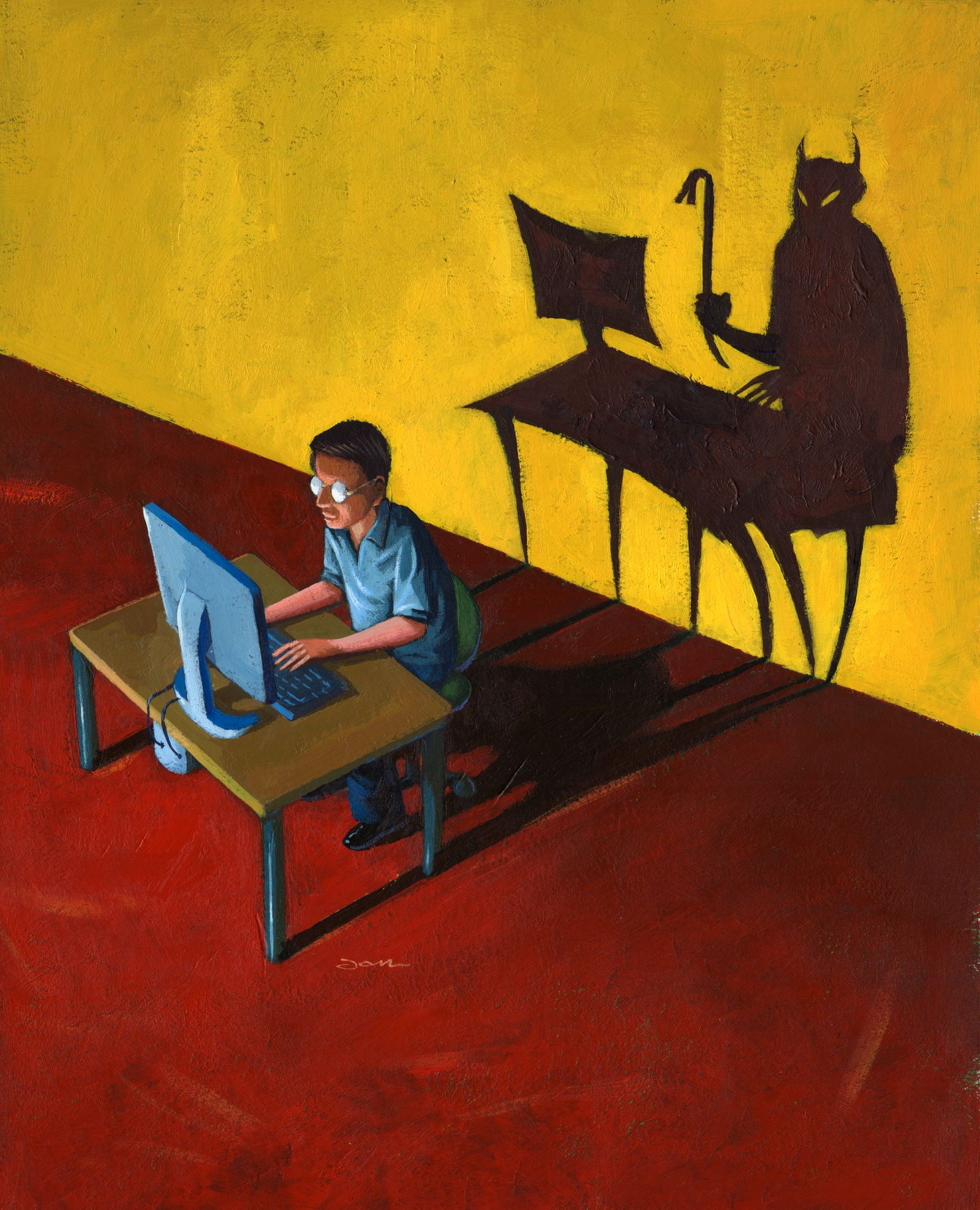 NICHT MEHR VERWENDEN! - Man using computer, with devil-shaped shadow behind, comic book,