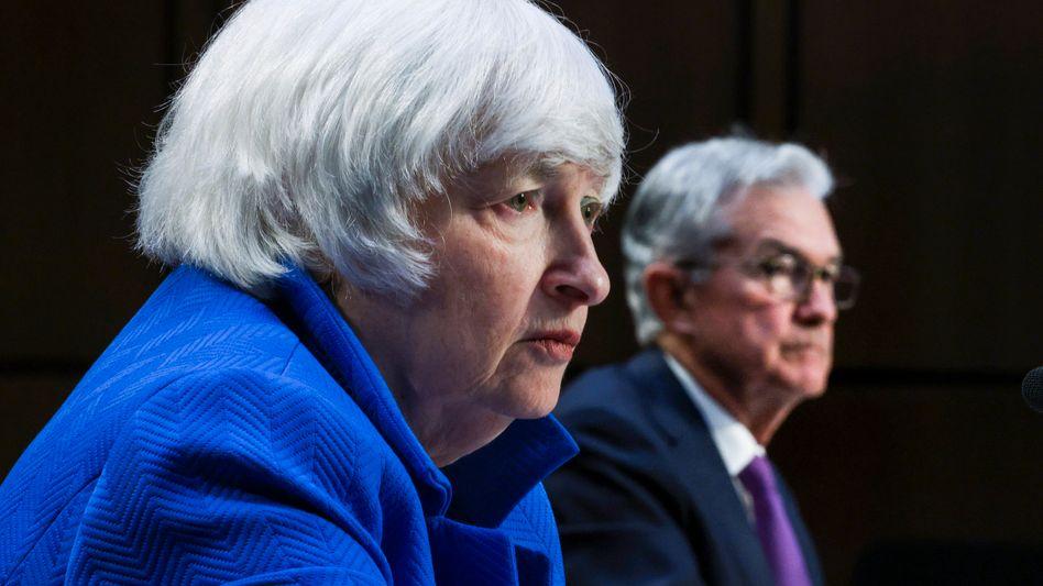 Besorgte Mienen: US-Finanzministerin Janet Yellen und Zentralbankchef Jerome Powell am 28. September im Kongress