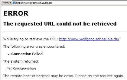 Schäuble offline: Die Webseite des Innenministers wurde geentert