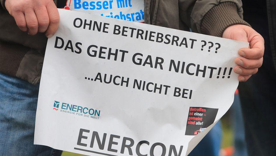 Geht gar nicht: Arbeitnehmer-Proteste gegen das Management von Enercon gab es schon 2014.