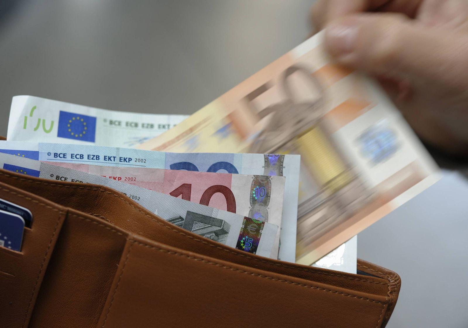 NICHT VERWENDEN Banknoten in der Geldboerse Portmonee Geld Euo