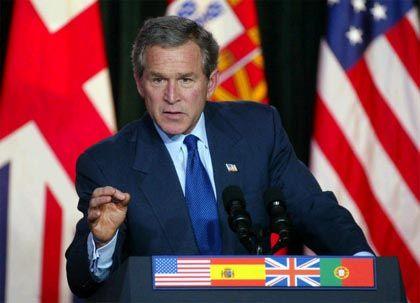 Das Treffen auf den Azoren: Präsident Bush beharrt auf seinem Standpunkt