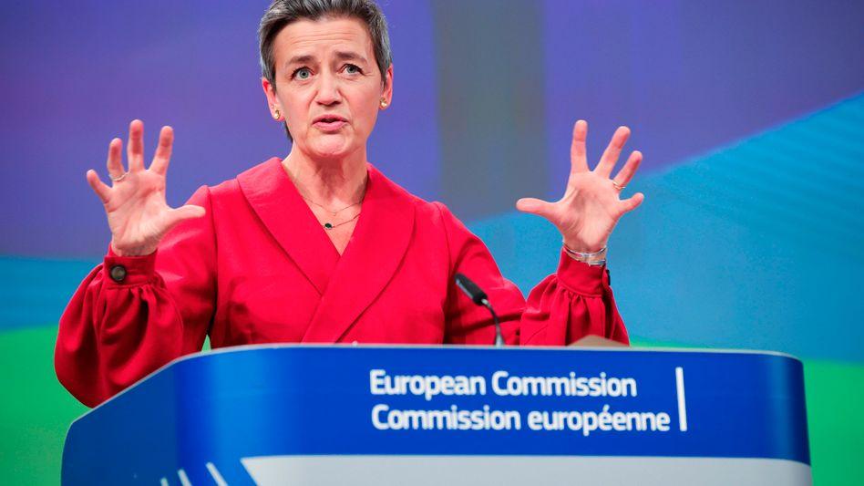 Digitalkämpferin: EU-Kommissarin Margrethe Vestager während der Präsentation ihres Gesetzespakets