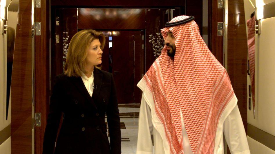 Saudi-Arabiens Kronprinz Mohammed bin Salman mit CBS-Moderatorin Norah O'Donnell