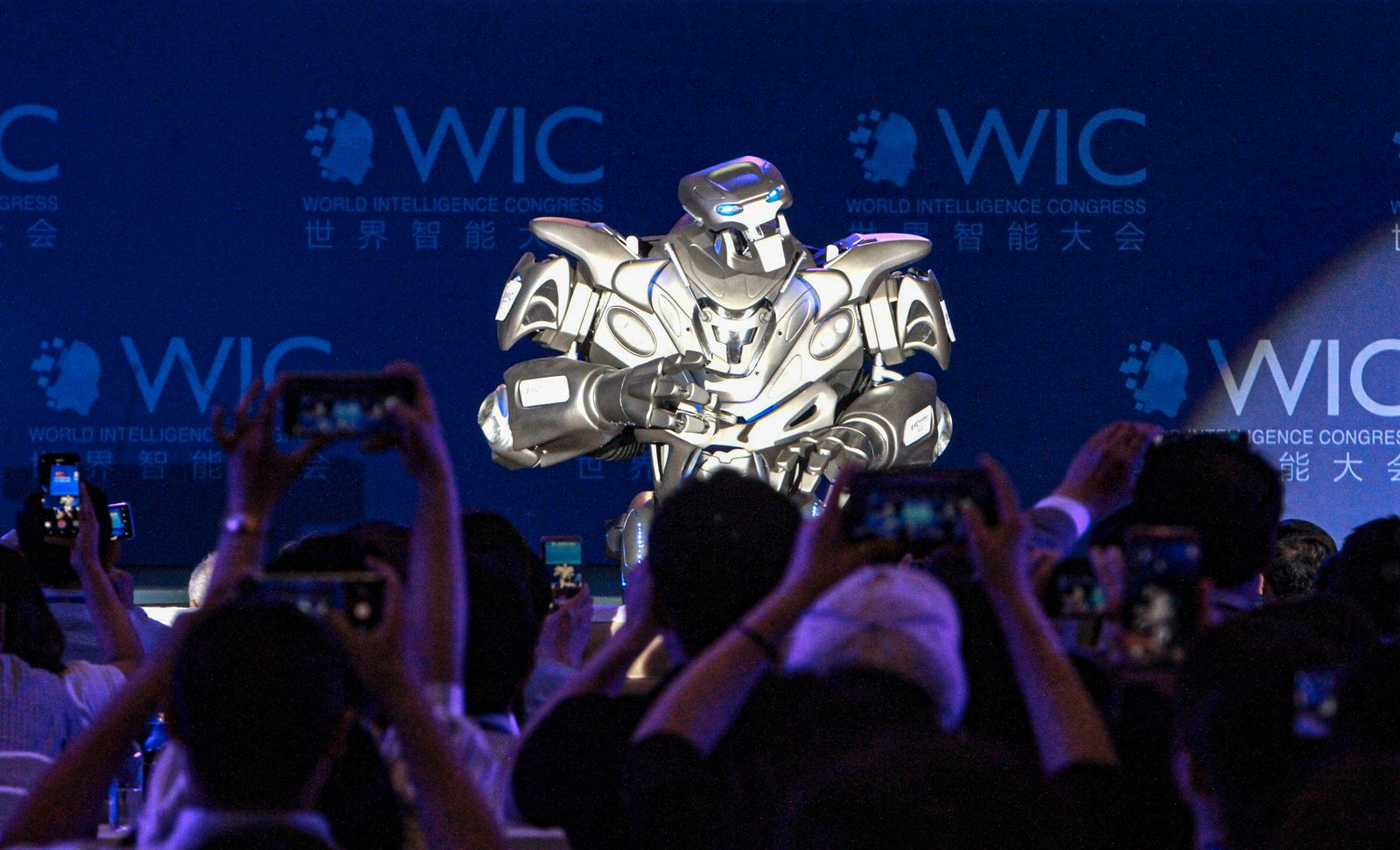 TIANJIN CHINA MAY 16 Intelligent robot Titan performs during the main forum of the 3rd World Int