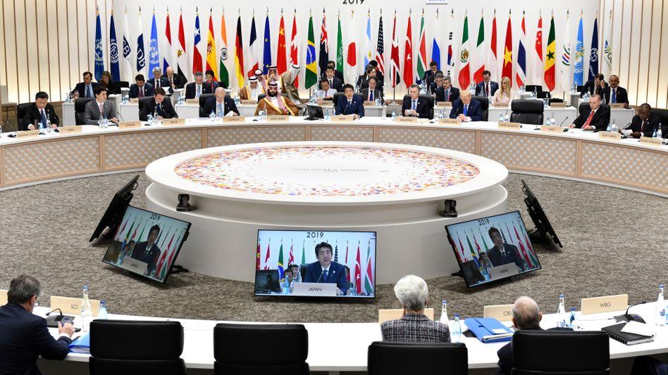 Japans Premierminister Shinzo Abe am Samstag beim G20-Gipfel in Osaka, Japan