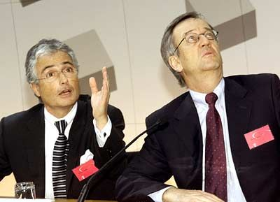 Hochfliegende UMTS-Pläne: Ron Sommer und Heinrich von Pierer
