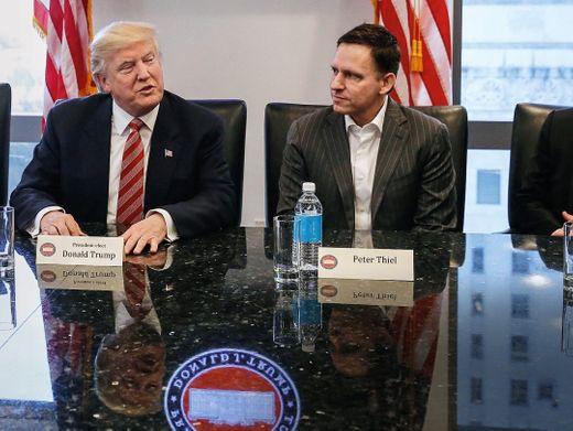 Ansager: Peter Thiel trat als prominentester Techstar für Donald Trump (l.) ein. Top-CEOs wie Apples Tim Cook (r.) waren deutlich skeptischer.