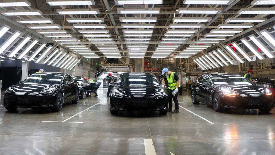Börsenturbo: Aufnahme aus dem chinesischen Tesla-Werk nahe Shanghai
