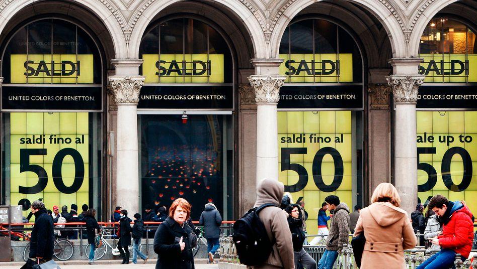 Einkaufsstraße in Mailand: Rezession wird in Italien zum Normalfall