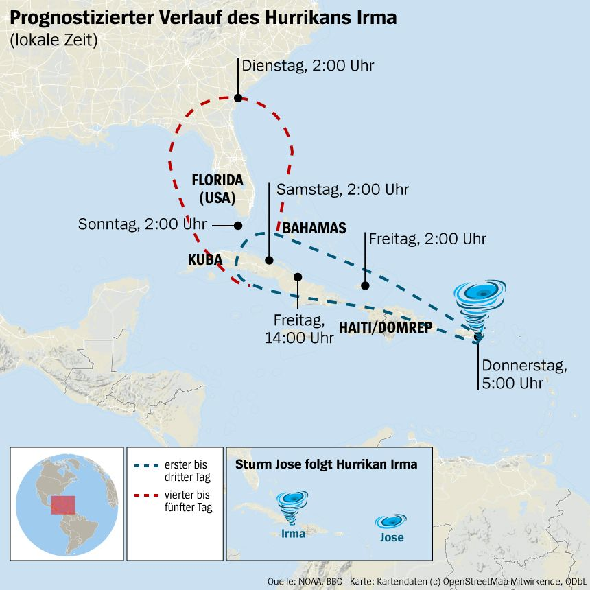 Karte Hurrikan Irma