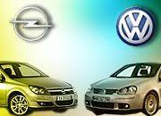 Hoffnungsträger für einen wieder erstarkenden Automarkt Deutschland: Opel Astra und VW Golf