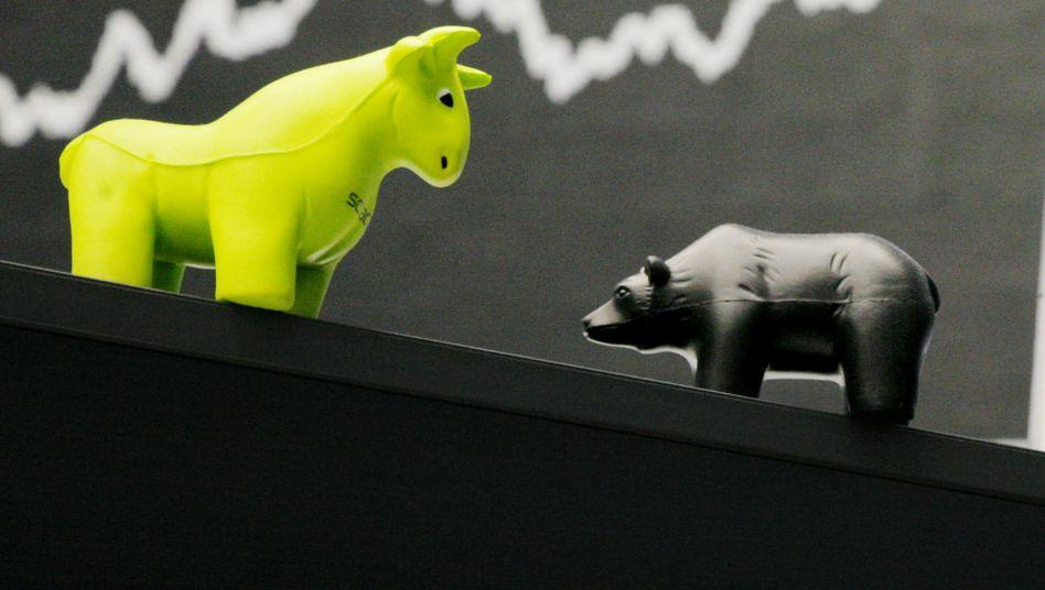 Bulle und Bär an der Börse in Frankfurt